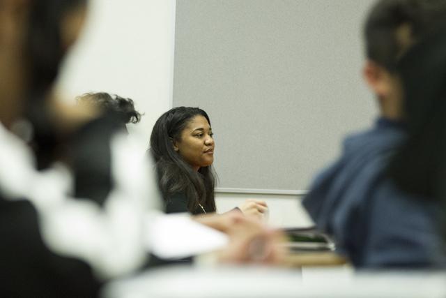 Special education teacher Ashlen Atkinson in a classroom to assist math students at West Preparatory Academy on Friday, Feb. 3, 2017, in Las Vegas. (Erik Verduzco/Las Vegas Review-Journal) @Erik_V ...