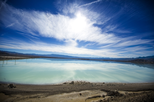 A lithium brining pond near  Silver Peak, Nev. is seen on Friday, Nov. 21,2015. More lithium mines in Nevada could be open to supply Tesla's new lithium-ion battery factory under construction in S ...