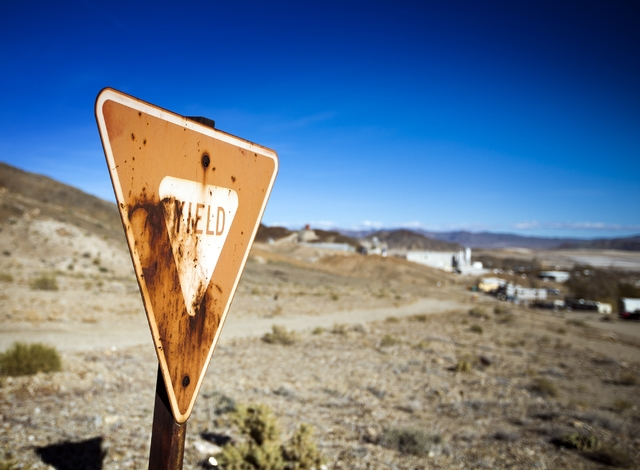A sign at Silver Peak, Nev. is seen on Friday, Nov. 21,2015.  Since the 1960s lithium has been mined in the area. More mines in Nevada could be open to supply Tesla's new lithium-ion battery facto ...