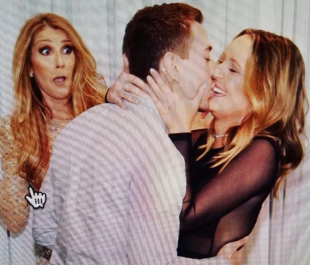 Nick Janevski kisses girlfriend Austin McMillan as Celine Dion watches at Caesars Palace. (Austin McMillan)