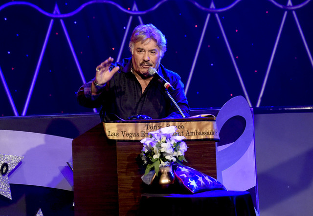 Singer Tony Orlando speaks during the Tony Sacca Celebration of Life tribute at The Stratosphere Showroom on Monday, Feb. 6, 2017, in Las Vegas. (Glenn Pinkerton/Las Vegas News Bureau)
