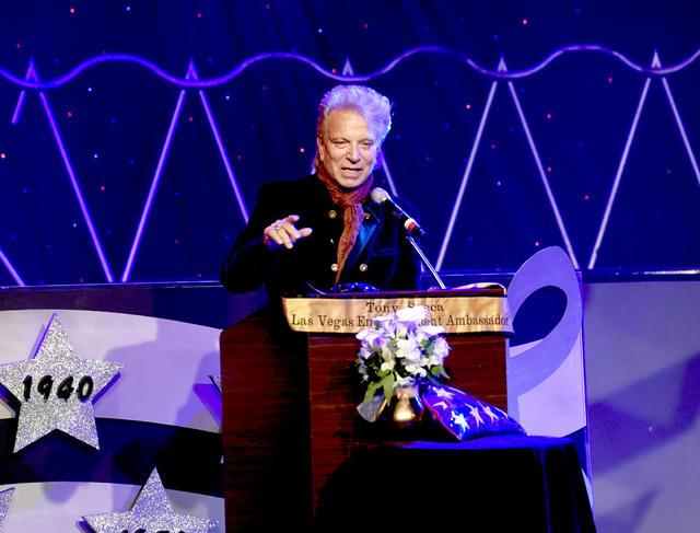 Illusionist Siegfried Fischbacher of Siegfried & Roy fame speaks during the Tony Sacca Celebration of Life tribute at The Stratosphere Showroom on Monday, Feb. 6, 2017, in Las Vegas. (Glenn Pi ...
