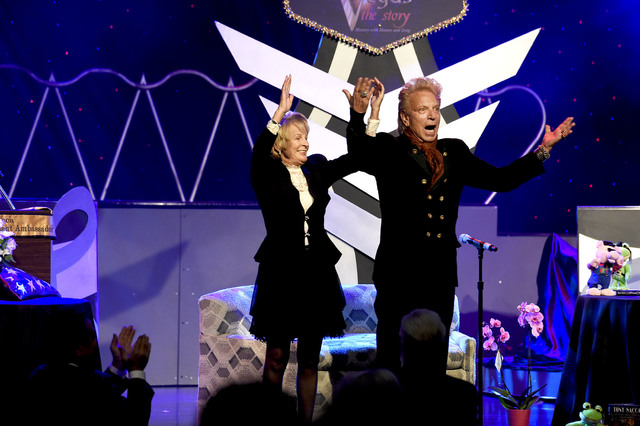 Illusionist Siegfried Fischbacher, right, of Siegfried & Roy fame and Josette LeBlond, Tony Sacca's widow, take a final bow at the Tony Sacca Celebration of Life tribute at The Stratosphere Sh ...