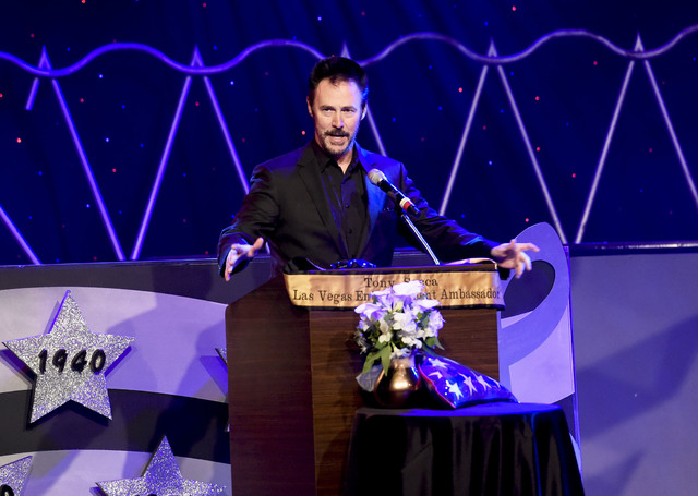 Magician Lance Burton speaks during the Tony Sacca Celebration of Life tribute at The Stratosphere Showroom on Monday, Feb. 6, 2017, in Las Vegas. (Glenn Pinkerton/Las Vegas News Bureau)
