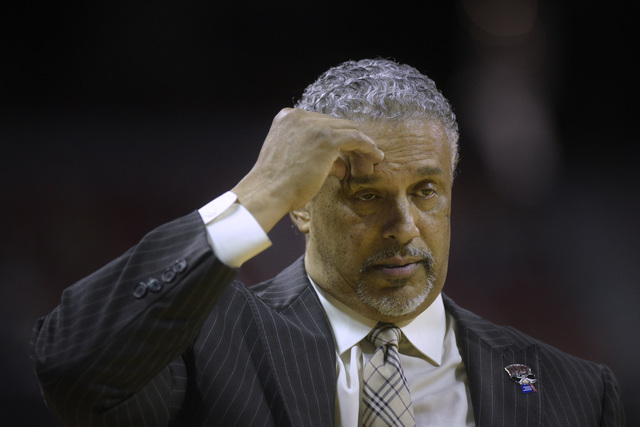 UNLV head coach Marvin Menzies pinches his forehead while falling further behind Colorado State during their Mountain West Conference basketball game Saturday, Feb. 4, 2016, at the Thomas & Ma ...