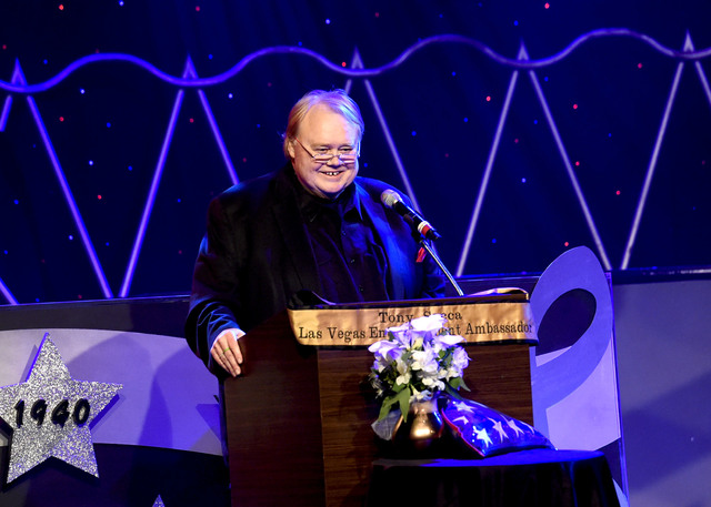 Comedian Louie Anderson speaks during the Tony Sacca Celebration of Life tribute at The Stratosphere Showroom on Monday, Feb. 6, 2017, in Las Vegas. (Glenn Pinkerton/Las Vegas News Bureau)
