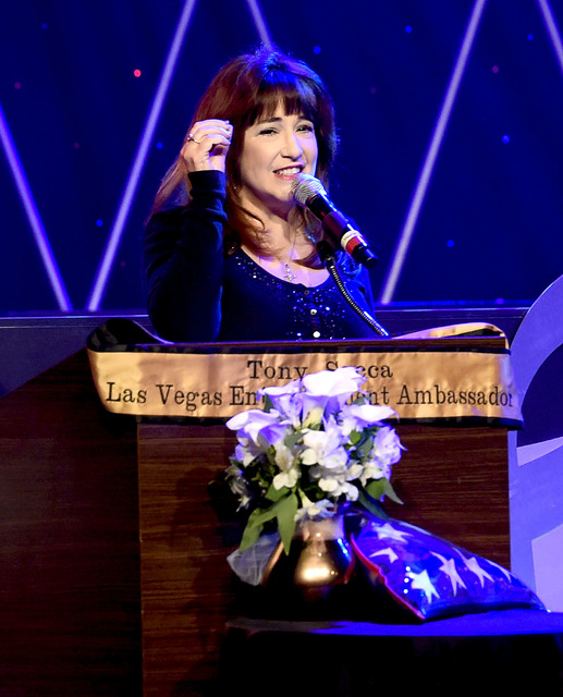 Singer Denise Clemente speaks during the Tony Sacca Celebration of Life tribute at The Stratosphere Showroom on Monday, Feb. 6, 2017, in Las Vegas. (Glenn Pinkerton/Las Vegas News Bureau)