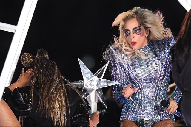 Singer Lady Gaga performs during the Halftime Show of Super Bowl 51 between The New England Patriots and The Atlanta Falcons on Sunday, Feb. 5, 2017, in Houston. (Bob Donnan/USA Today)