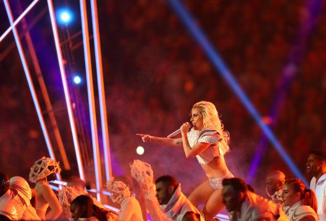 Feb 5, 2017; Houston, TX, USA; Lady Gaga performs during the halftime show during Super Bowl LI at NRG Stadium. Mandatory Credit: Kevin Jairaj-USA TODAY Sports