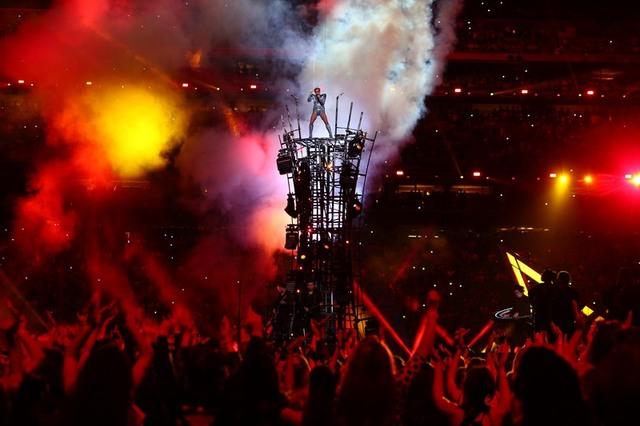Feb 5, 2017; Houston, TX, USA; Recording artist Lady Gaga performs at halftime during Super Bowl LI between the Atlanta Falcons and the New England Patriots at NRG Stadium. Mandatory Credit: Mark  ...