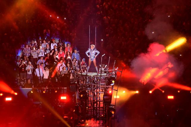 Feb 5, 2017; Houston, TX, USA; Lady Gaga performs during the halftime show for Super Bowl LI at NRG Stadium. Mandatory Credit: Richard Mackson-USA TODAY Sports
