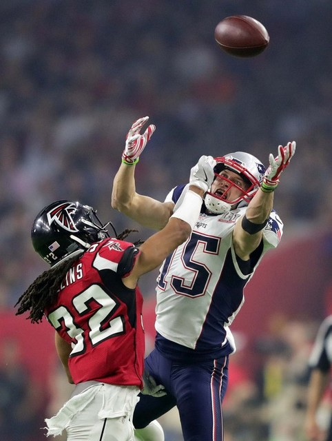 Feb 5, 2017; Houston, TX, USA; Atlanta Falcons cornerback Jalen Collins (32) breaks up a pass intended for New England Patriots wide receiver Chris Hogan (15) in the third quarter during Super Bow ...