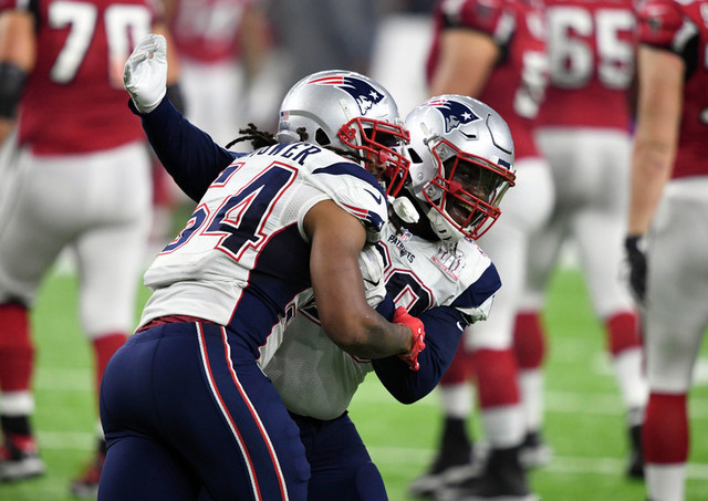 Feb 5, 2017; Houston, TX, USA; New England Patriots middle linebacker Dont'a Hightower (54) celebrates with teammates after he forces a touchdown against the Atlanta Falcons during the fourth quar ...
