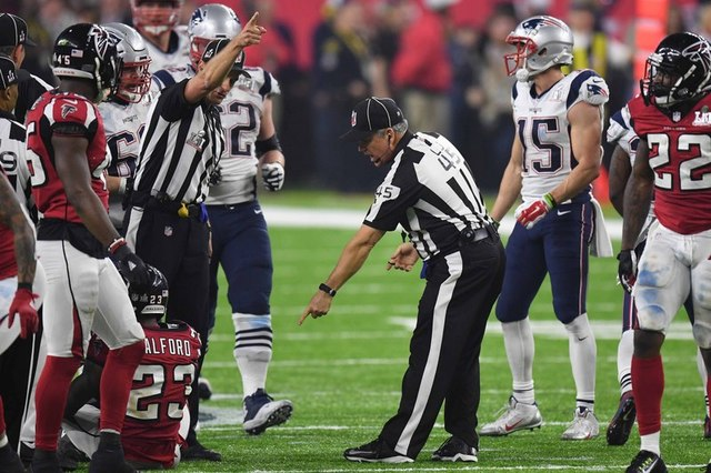 Feb 5, 2017; Houston, TX, USA; Game officials review a catch by New England Patriots wide receiver Julian Edelman (11, not pictured) during the fourth quarter against the Atlanta Falcons during Su ...