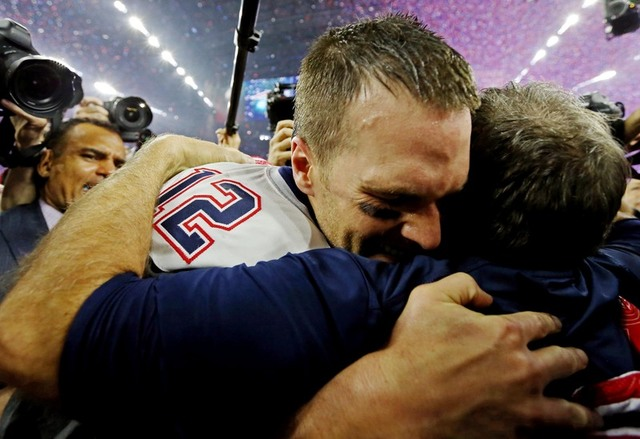 Feb 5, 2017; Houston, TX, USA; New England Patriots head coach Bill Belichick and quarterback Tom Brady (12) celebrate after beating the Atlanta Falcons during Super Bowl LI at NRG Stadium. Mandat ...