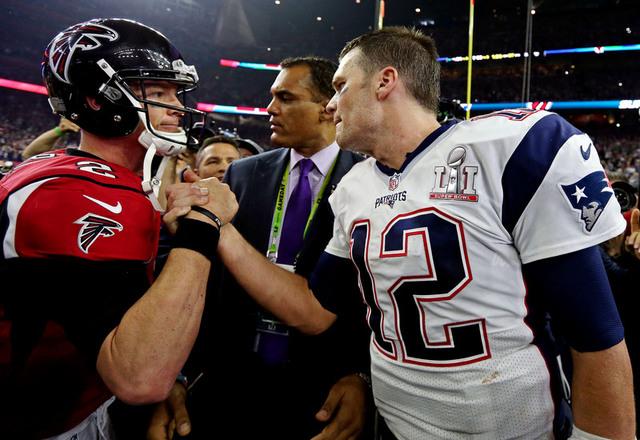 Feb 5, 2017; Houston, TX, USA; New England Patriots quarterback Tom Brady (12) and Atlanta Falcons quarterback Matt Ryan (2) shake hands after Super Bowl LI at NRG Stadium. Mandatory Credit: Matth ...