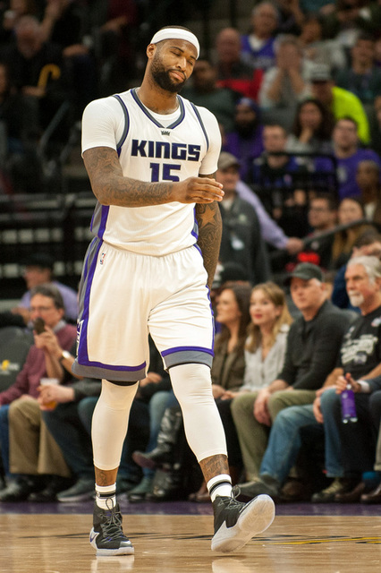 Feb 6, 2017; Sacramento, CA, USA; Sacramento Kings forward DeMarcus Cousins (15) reacts to a call during the second quarter of the game against the Chicago Bulls at Golden 1 Center. The Chicago Bu ...
