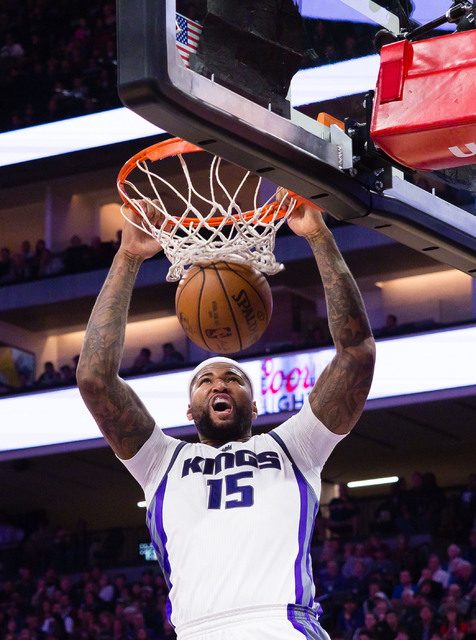 Feb 12, 2017; Sacramento, CA, USA; Sacramento Kings forward DeMarcus Cousins (15) dunks the ball against the New Orleans Pelicans during the fourth quarter at Golden 1 Center. The Sacramento Kings ...