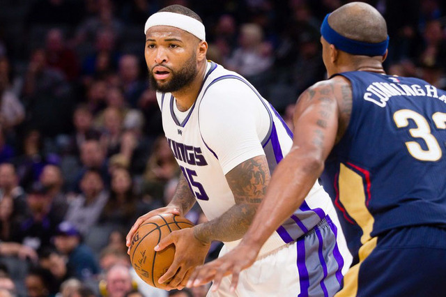 Feb 12, 2017; Sacramento, CA, USA; Sacramento Kings forward DeMarcus Cousins (15) controls the ball against New Orleans Pelicans forward Dante Cunningham (33) during the third quarter at Golden 1  ...