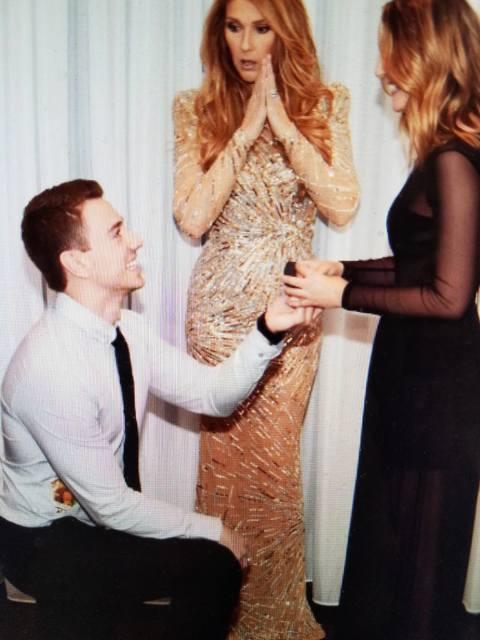 Nick Janevski proposes to girlfriend Austin McMillan as Celine Dion watches at Caesars Palace. (Austin McMillan)