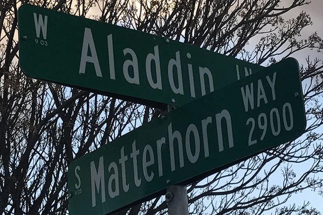 Aladdin Lane and Matterhorn Way are among the fairytale-inspired street names in Enchanted Village, a development near South Decatur Boulevard and Pennwood Avenue that was created in 1963. (KAILYN ...