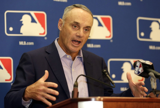 Major League Baseball Commissioner Rob Manfred speaks during a news conference following a meeting with MLB owners, Friday, Feb. 3, 2017, in Palm Beach, Fla. (Lynne Sladky/AP)