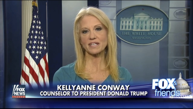 This frame grab from video provided by Fox News shows White House adviser Kellyanne during her interview with Fox News Fox and Friends, Thursday, Feb. 9, 2017, in the briefing room of the White Ho ...