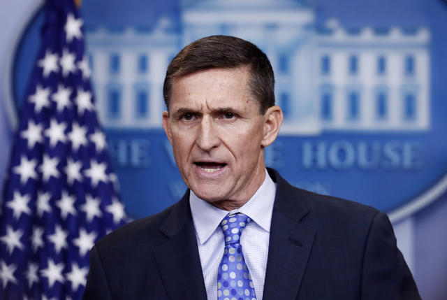 National Security Adviser Michael Flynn speaks during the daily news briefing at the White House, Feb. 1, 2017. (Carolyn Kaster/AP)