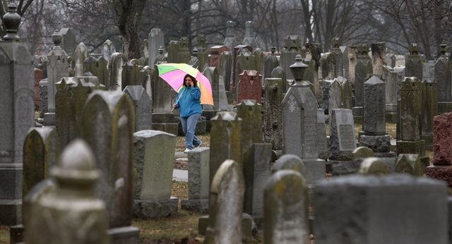 People search for loved ones' graves at Chesed Shel Emeth Cemetery in University City, Mo., on Tuesday, Feb. 21, 2017. Authorities in Missouri are investigating after dozens of headstones were tip ...
