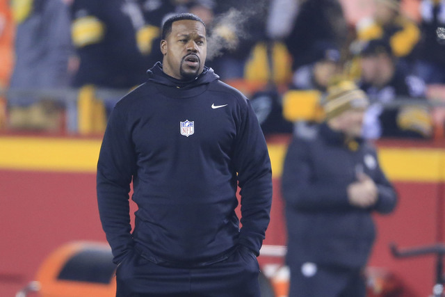 In this Jan. 15, 2017, file photo, Pittsburgh Steelers linebackers coach Joey Porter walks on the field before an NFL divisional playoff football game against the Kansas City Chiefs in Kansas City ...
