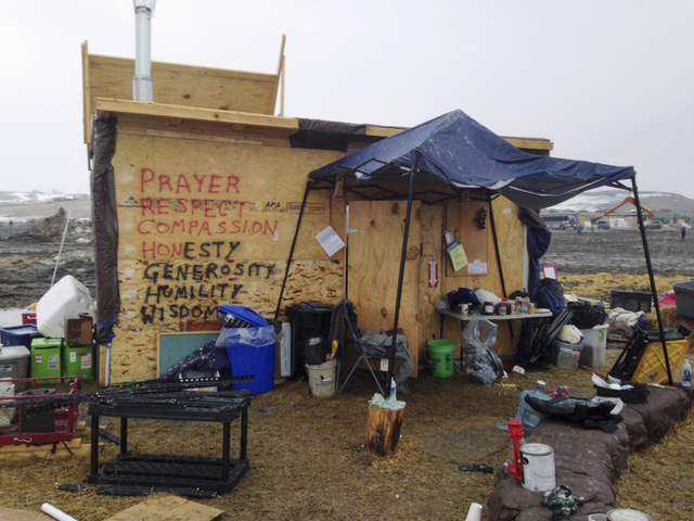 A structure is seen at the Dakota Access pipeline main protest camp in southern North Dakota near Cannon Ball, N.D., on Wednesday, Feb. 22, 2017, as authorities prepare to shut down the camp in ad ...