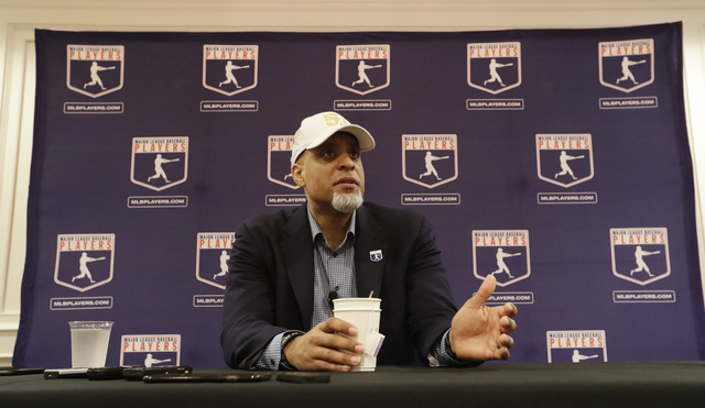 Executive Director of the Major League Players Association Tony Clark answers questions at a news conference Sunday, Feb. 19, 2017, in Phoenix. (Morry Gash/AP)