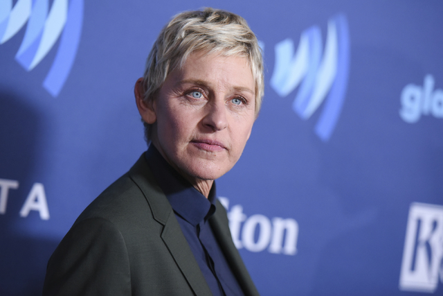Ellen DeGeneres arrives at the 26th Annual GLAAD Media Awards held at the Beverly Hilton Hotel, in Beverly Hills, Calif. On the Feb. 23, 2017, episode of her chat show, DeGeneres handed out four-y ...