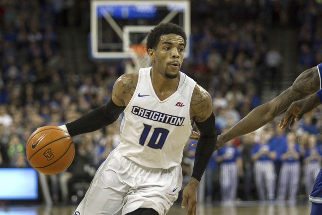In this Wednesday, Dec. 28, 2016 file photo, Creighton guard Maurice Watson Jr. (10) dribbles in the lane against Seton Hall during the second half of an NCAA college basketball game in Omaha, Neb ...