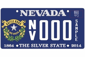 The license plate design commemorating Nevada''s 150th anniversary.