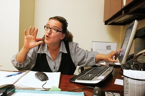 Moniru Ravanipour works in her office at the Black Mountain Institute at the University of Nevada, Las Vegas, during her time in the City of Asylum program in 2009. (Courtesy)