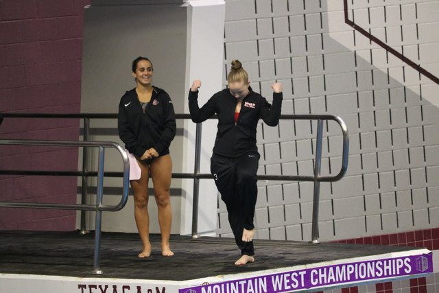 """UNLV diver Alyssa Arnett of Spring, Texas, received a surprise wedding proposal at the Mountain West Conference swimming and diving championships. She said """"Yes."""" (Courtesy: UNLV)"""