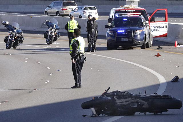 The Nevada Highway Patrol investigates a fatal motorcycle crash on U.S. Highway 95 near the Rainbow Boulevard exit on Jan. 24, 2017. (Bizuayehu Tesfaye/Las Vegas Review-Journal) @bizutesfaye
