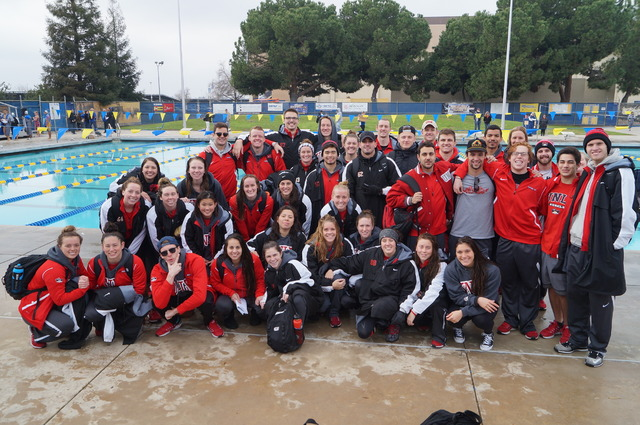 UNLV swimmers and divers gather for a team photo.  (Courtesy of UNLV athletics)