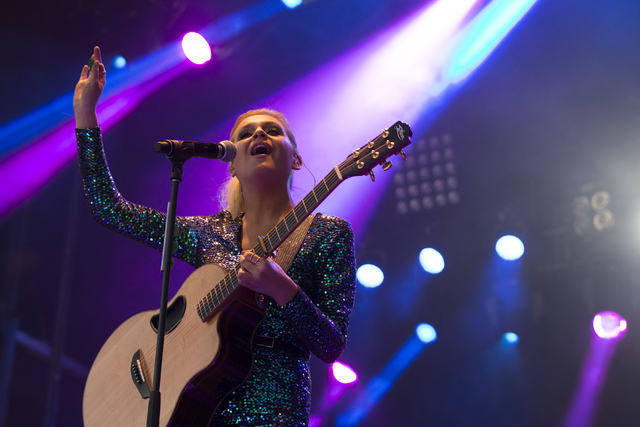 """Kelsea Ballerini performs during the first day of the Academy of Country Music's """"Party for a Cause,"""" event at the Las Vegas Festival Grounds on April 1, 2016, in Las Vegas. (Benjamin Hager/Las Ve ..."""