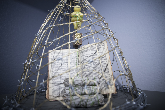"The Gilded Cage of Female Oppression, an art piece by Denise Duarte on display in the Center Gallery hosting the exhibition ""A Room of One's Own,"" on Tuesday, Jan. 31, 2017, in North Las Vegas. (E ..."