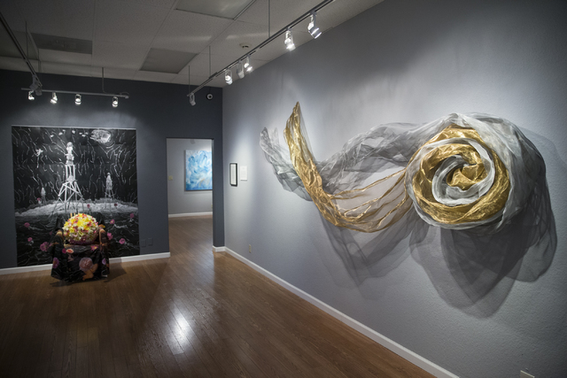 "Art pieces on display in the Center Gallery hosting the exhibition ""A Room of One's Own,"" on Tuesday, Jan. 31, 2017, in North Las Vegas. (Erik Verduzco/Las Vegas Review-Journal)  ..."