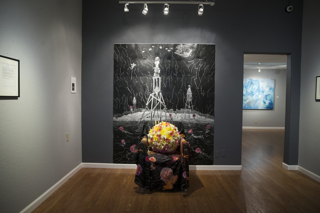 """Flower Power Evolution,"" an art piece by JK Russ on display in the Center Gallery hosting the exhibition ""A Room of One's Own,"" on Tuesday, Jan. 31, 2017, in N ..."