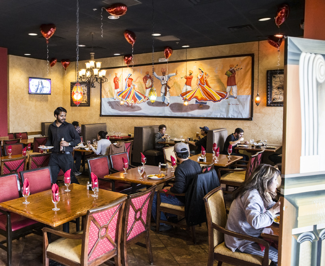 Diners enjoy their food during lunch at Angara Indian Spice Grill on Saturday, Feb. 18, 2017, in Las Vegas. (Benjamin Hager/Las Vegas Review-Journal) @benjaminhphoto