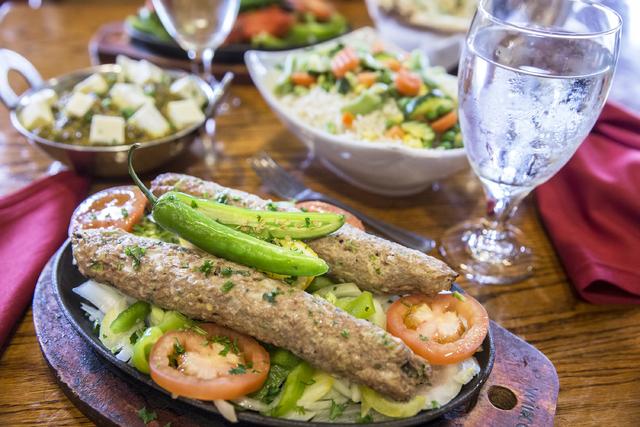Sheek lamb kabab, minced meat spiced with ginger, herbs and onions roasted on a skewer, at Angara Indian Spice Grill on Saturday, Feb. 18, 2017, in Las Vegas. (Benjamin Hager/Las Vegas Review-Jour ...