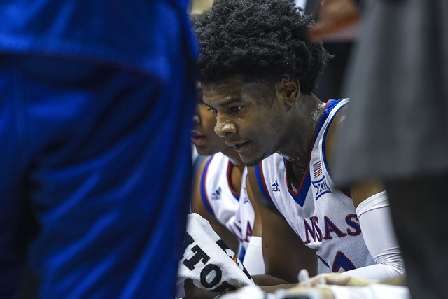 Kansas Jayhawks guard Josh Jackson (11) during a time-out against the Baylor Bears the first half of an NCAA college basketball game in Lawrence, Kan., Wednesday, Feb. 1, 2017. (Reed Hoffmann/AP)
