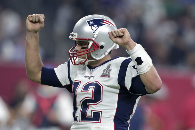 New England Patriots' Tom Brady reacts during the second half of the NFL Super Bowl LI football game against the Atlanta Falcons Sunday, Feb. 5, 2017, in Houston. (AP Photo/Darron Cummings)