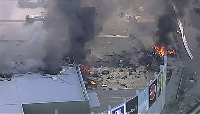 This image made from video shows the site of a plane crash at Essendon Airport in Melbourne, Australia Tuesday, Feb. 21, 2017. (Channel 9 via AP)