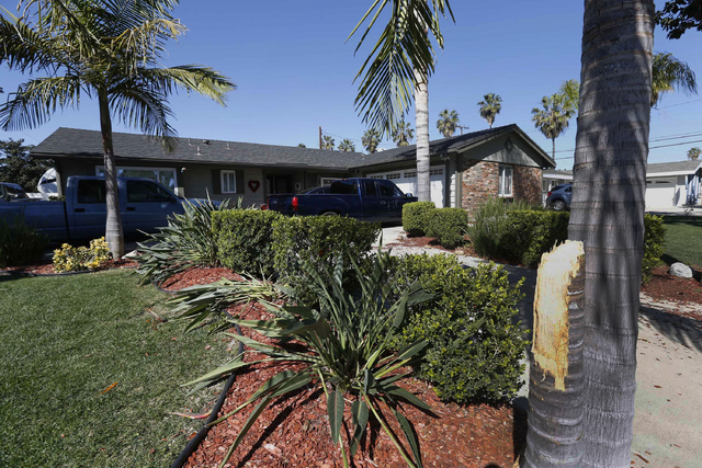 A property that was vandalized in protests in Anaheim, California, is seen Thursday, Feb. 23, 2017. An off-duty California officer who didn't want teens walking across his lawn fired his gun durin ...
