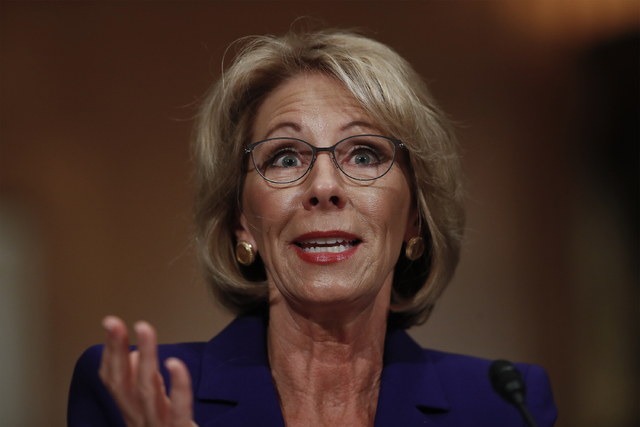 Education Secretary-designate Betsy DeVos testifies on Capitol Hill in Washington, Tuesday, Jan. 17, 2017, at her confirmation hearing before the Senate Health, Education, Labor and Pensions Commi ...